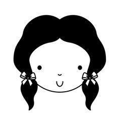 black icon cute girl face vector image