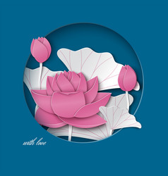 blue card with cut round frame pink lotus flower vector image vector image