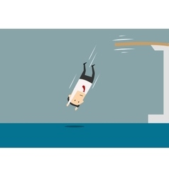 Businessman diving into a swimming pool vector