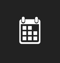 calendar icon on black background flat style vector image