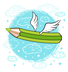 Cartoon colored pencil with wings in the clouds vector