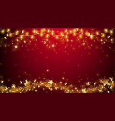 Christmas fairy lights on red background vector