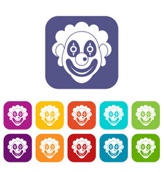 Clown icons set vector