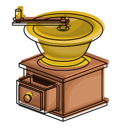 Coffee grinding with crank side view colorful vector