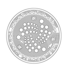 Crypto currency iota black and white symbol vector