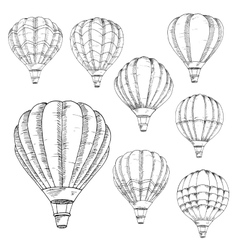 Flying hot air balloons sketches vector
