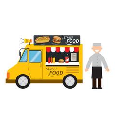 food truck hamburgerhot dog street food vector image vector image