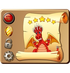 Game template with red dragon background vector