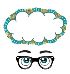 Glasses with eyes dreaming concept vector image vector image