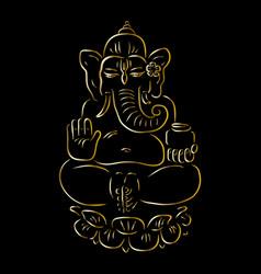 Golden ganapati meditation in lotus pose vector