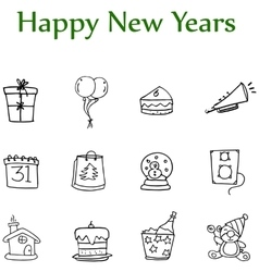 Hand draw of new year element icons vector