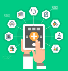 hand hold digital tablet with medical application vector image vector image