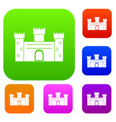 medieval fortification set color collection vector image vector image