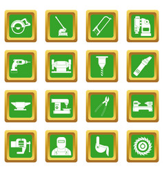 Metal working icons set green vector