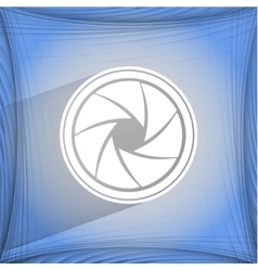 Photo camera diaphragm Flat modern web button on a vector image