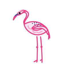 Pink flamingo doodle sketch style isolated on vector