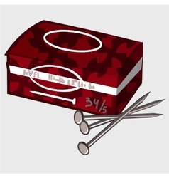 Red box with tools and a few nails work kit vector image