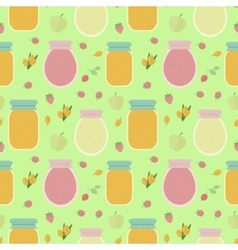 Seamless pattern with fruits and jars of jam vector image