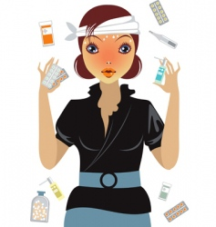 stressed girl suffering from flu vector image vector image