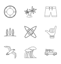 Surfing in sea icons set outline style vector