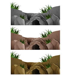 three scenes of cave in the rocky mountain vector image