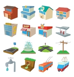 Urban infrastructure icons set cartoon style vector