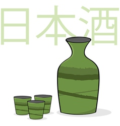 Sake bottle and cups vector