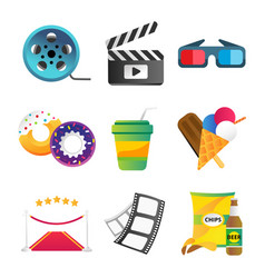 Fast food and film cinema technology vector
