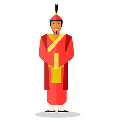 Ancient chinese soldier in red clothes on white vector