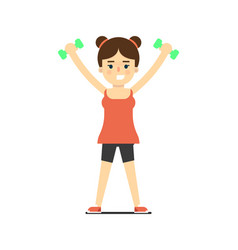 Sporty girl in sportswear lifting light dumbbells vector
