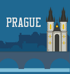 Prague old castle church with night cityscape vector