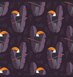 Seamless pattern with cute jungle parrot toucan vector