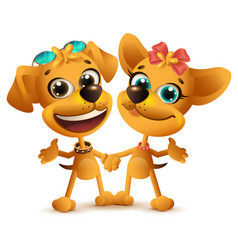 Boy dog and girl dog friends friendship day vector