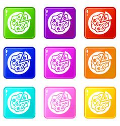 Pizza food set 9 vector