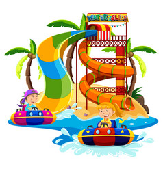 Boy and girl playing water slide vector