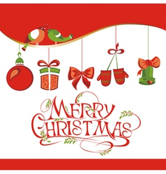 Christmas card with icons vector image