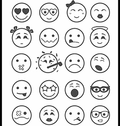 20 smiles icons set child black and white vector