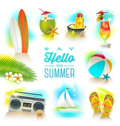 Set of summer and beach vacations elements vector image