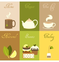 Tea mini posters set vector