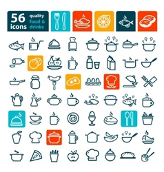 Big food icons set vector