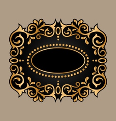 Black frame with golden ornament vector