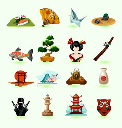 Japan Icons Set vector image