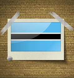 Flags botswana at frame on a brick background vector