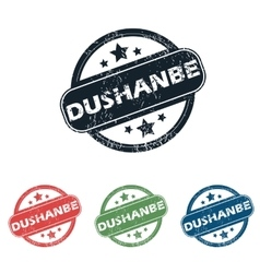 Round dushanbe city stamp set vector