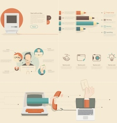Flat infographics elements for slide presentation vector