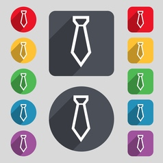 Tie icon sign a set of 12 colored buttons and a vector