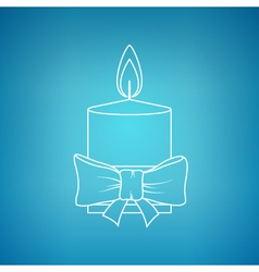 Christmas festive candle on a blue background vector