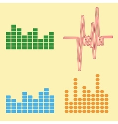 Sound waves set audio equalizer technology vector