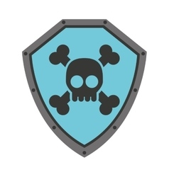 Security shield with skull isolated icon design vector