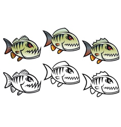 angry cartoon piranha vector image